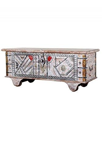 Orientalische Truhe Kiste aus Holz Chadijah 116cm groß in White Wash | Vintage Sitzbank mit Aufbewahrung für den Flur | Aufbewahrungsbox mit Deckel im Bad | Betttruhe als Kissenbox oder Deko im Schlafzimmer