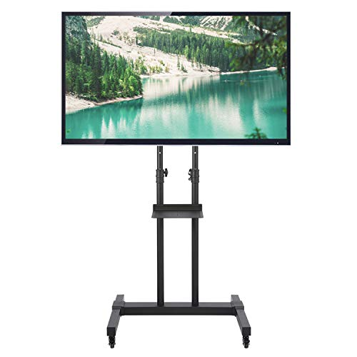 RFIVER Universal Mobil TV Ständer Trolley 32-70 Zoll mit Rollen Höhenverstellbar Neigbar LCD/LED/Plasma Fernseher Schwarz Max. 50 kg MT1001