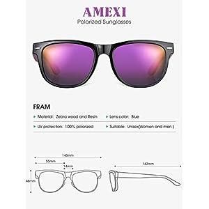 AMEXI Gafas de Sol Polarizadas Hombre y Mujere, UV400 Protection, Gafas Ligeras con Patillas de Madera (Púrpura)