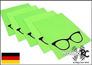 5x Premium Mikrofaser Brillenputztuch | NEU 2018 noch besser | Brille - grün & groß | 18cm x 14,5cm | molinoRC ® Putz-Tuch Displayputztuch | Reinigungs-Tuch für Kamera iPad | iPhone | Tablet PC | Blitzversand aus BRD | Markenware von molinoRC ®