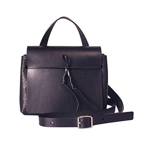 Mena UK Lady e donne Upscale Vintage cuoio genuino Handmade Designer in pelle morbida Borse di spalla Tote Bag Borse ( Colore : Marrone , dimensioni : 19.5cm*9cm*16cm ) Nero