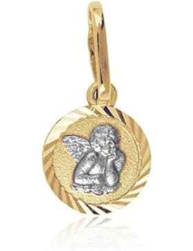 MyGold Schutzengel-Anhänger (ohne Kette) Gelbgold Weißgold Weissgold Gold bicolor Ø 8mm Länge 15mm Engel Engelchen...