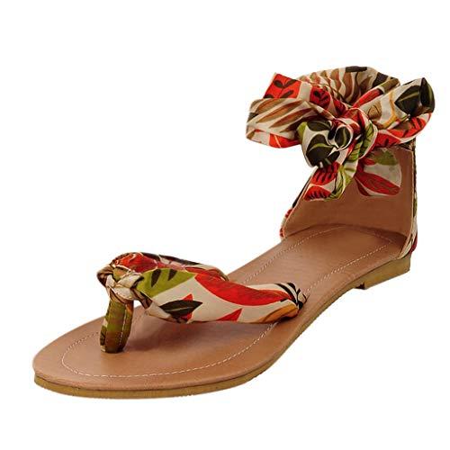 Zehentrenner Sommer Sandaletten/Dorical Damen Übergroßer Bohemia Sandals, Frauen Casual Sandalen Flach Sandaletten Seide Stoff mit Schnürsenkel Elegant Strand Schuhe(Gelb,39 ()