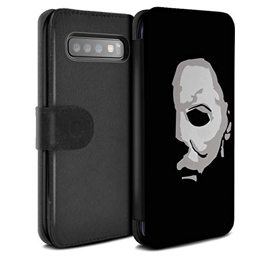eSwish PU-Leder Hülle/Case/Tasche/Cover für Samsung Galaxy S10 Plus/Michael Myers Inspiriert Kunst Muster/Grusel Filmkunst Kollektion