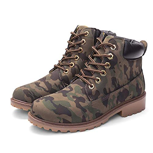 DEELIN Women Short Boots Ladies PU Leather Basic Solid Ankle Boots Low Heel Lace-Up Casual Slouch Ladies Army Military Combat Boots