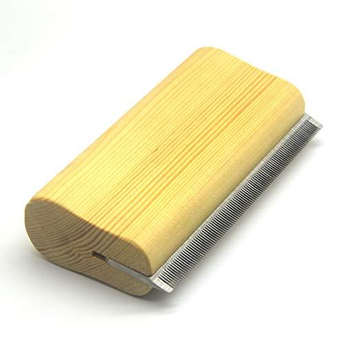iLuiz deShedding Bürste by Ergonomischer Holz Design Effektive Pflege Tool Professional Fellpflege Bürste für Hund Katze und Pferd Fell entfernen -