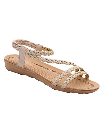 YOUJIA Frauen Offene Sandalen Flip Flop Bohemia Sommer Flache Strand Schuhe Römische Sandalen Beige