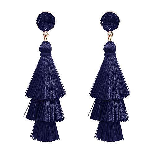 Ohrringe für Damen, Bohemian-Stil, Quarz, mehrlagig, lange Quaste, hängende Ohrringe, Schmuck, blau (Herren-diamant-cluster-ohrringe)