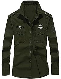 Dragon868 otoño Invierno Casual Militar Cargo botón de Manga Larga Camisas de Vestir Hombres