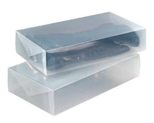 Wenko 6010100 - Caja de plástico para botas (2 unidades, 52 x 11 x 30 cm), color transparente