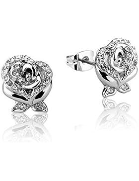 Disney Couture Beauty & The Beast weiß vergoldet Kristall Ohrringe Rose