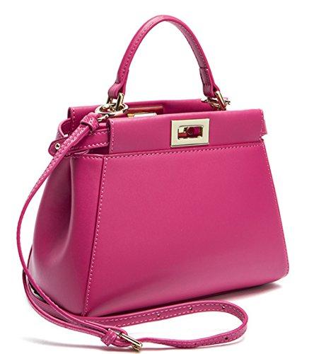 Xinmaoyuan Borse donna Vacchetta Borsette Borsa gattino borsa messenger in pelle fibbia Borsa Borsa a tracolla rose red