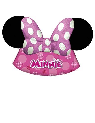 Generique - Minnie Maus-Geburtstags-Hüte für Kinder 6 Stück pink-Weiss-schwarz