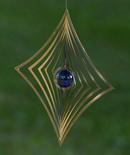 A2004 - steel4you hochwertiges 3D Windspiel aus Edelstahl mit Glasperle - Raute 19cm x 19cm - made in Germany - 5