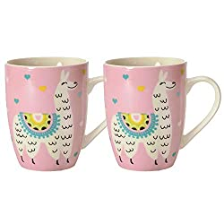 2er Set Lama Kaffeebecher in rosa - Alpaka Kaffeetasse