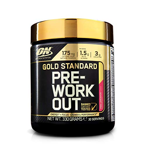 Optimum Nutrition ON Gold Standard Pre Workout Energy Drink Pulver mit Kreatin Monohydrat, Beta Alanin, L-Carnitin, natürliches Koffein und Vitamin B Komplex, Pink Lemonade, 30 Portionen, 330g