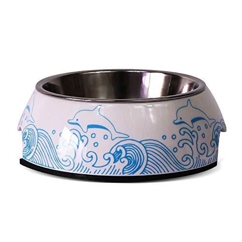 DjfLight Edelstahl Pet Bowl, FutternäPfe FüR Kleine Hunde Katzen Pet Double Bowl, Anti Rutsch Anti-Kipp Leicht Zu Reinigen Tierbedarf Und Dekoration Mit 3 GrößE, 10 Farben,Dolphin-L - Dolphin Schublade