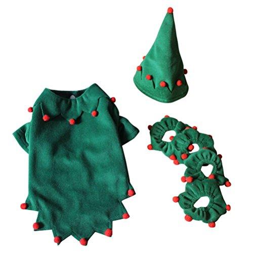 alkyoneus Pet Hund Weihnachten Kostüm Halloween Elf Style Pom Pom Decor Kleidung Bekleidung
