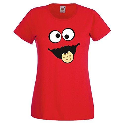 -Shirt Gruppen Kostüm Karneval Fasching Verkleidung Party JGA Red M (Sesame Street Cookie Monster Kostüm)