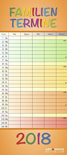 Regenbogen 2018 - A&I Familienplaner mit 5 Spalten, Familienkalender - 19,5 x 45 cm