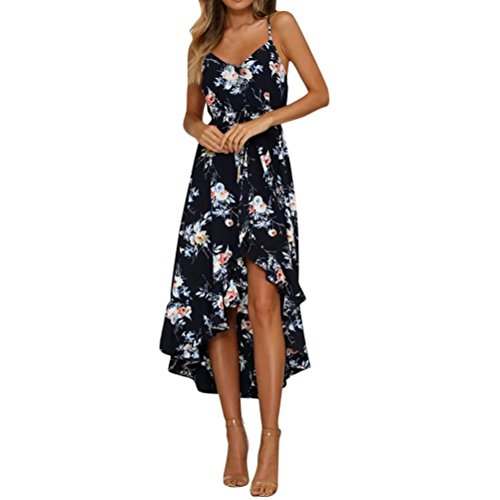 Anglewolf Womens Holiday Plunge Maxi Long Dress Ladies Summer Floral Print Beach Dresses Fashion Asymmetrical V-Neck Sleeveless Sundress Casual Daily Party Dress