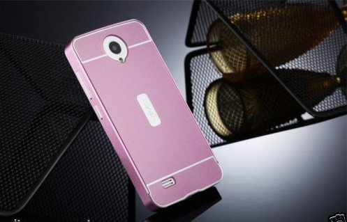 D-kandy Luxury Metal Bumper + Acrylic Mirror Back Cover Case For VIVO Y21 Y21L - ROSE GOLD