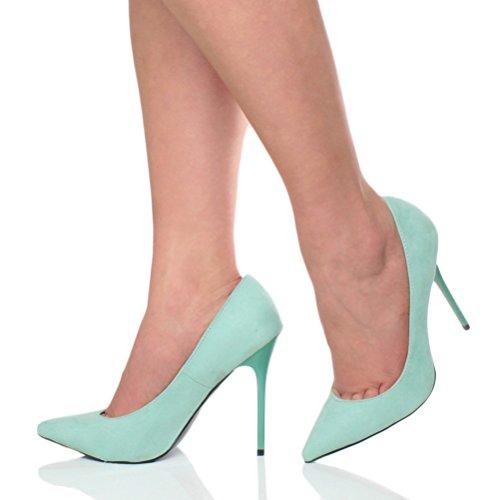 Damen Höher Absatz Kontrast Stilettos High Heels Spitz Gepflegt Fesch Arbeit Pumps Schuhe Pastell Pfefferminz Grüne Wildleder