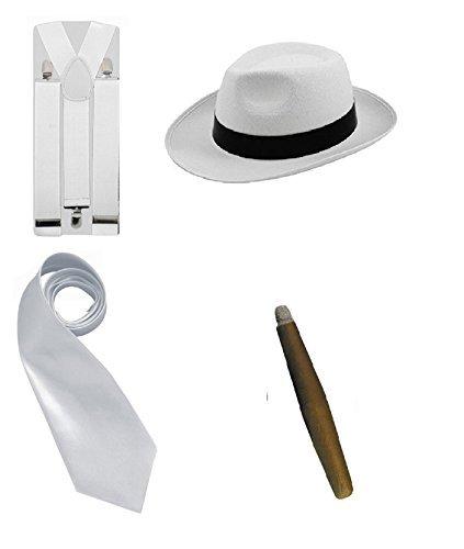 (LS Glamour Room Kostümset Gangster aus den 1920erJahren, Schwarz/Weiß/Rot Melone, Krawatte, Hosenträgern und Fake-Zigarre Gr. Einheitsgröße, White Set)