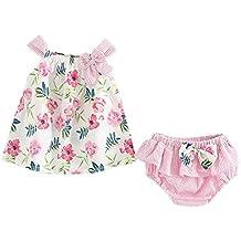 Counjunto de ropa bebé niña Verano ❤ Amlaiworld 2pcs Bebés niñas impresión floral Tops chaleco