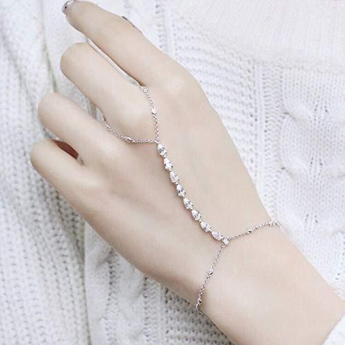 YHFJD Armbänder Zirkonia Wassertropfen Runde Kristall Armband Slave Kettenglied Verbunden Finger Frauen Schmuck-in Kette & amp;Armbänder verknüpfen (Kristalle Runde Armband)