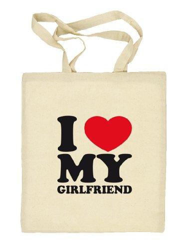 Shirtstreet24, I LOVE MY GIRLFRIEND, Valentinstag Valentine's Day Stoffbeutel Jute Tasche (ONE SIZE) Natur