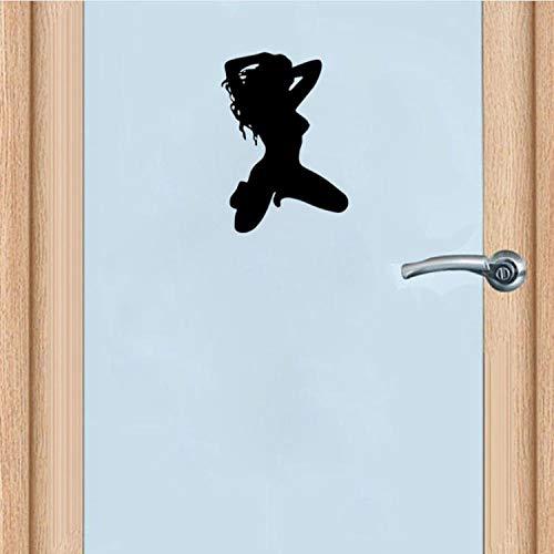 YUTAO 14 * 20Cm Heißes Reizvolles Mädchen-Frauen-Lustiges Badezimmer-Tür-Abziehbild Und Wand-Aufkleber-Schwarzes