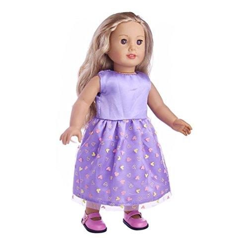 Prevently Nette Prinzessin Kleid 18-Zoll-Kleidung Mode süße Röcke Party Ballroom Kleid Kleid American Girl Puppe Stand Puppe süße Puppe Kleidung (Lila) 15-puppe Kleidung Für Die American Girl