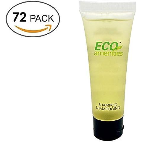 ECO AMENITIES Transparente Tubo Flip Cap Envueltas Individualmente 30ml Shampoo, 72 Tubes per Caso