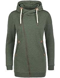 DESIRES Vicky Zip Hood Long Damen Sweatjacke Kapuzen-Jacke Zip-Hood mit Kapuze aus hochwertiger Baumwollmischung mit Fleece-Innenfutter