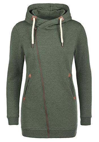 DESIRES Vicky Zip Hood Long Damen Lange Sweatjacke Kapuzenjacke Sweatshirtjacke Mit Kapuze Und Fleece-Innenseite, Größe:L, Farbe:Climb Ivy (8785)