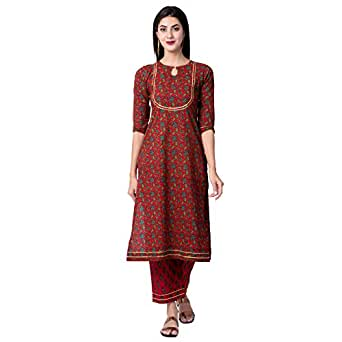 Gulmohar Jaipur Women's Straight Cotton Printed Kurta Palazzo Set (Red)
