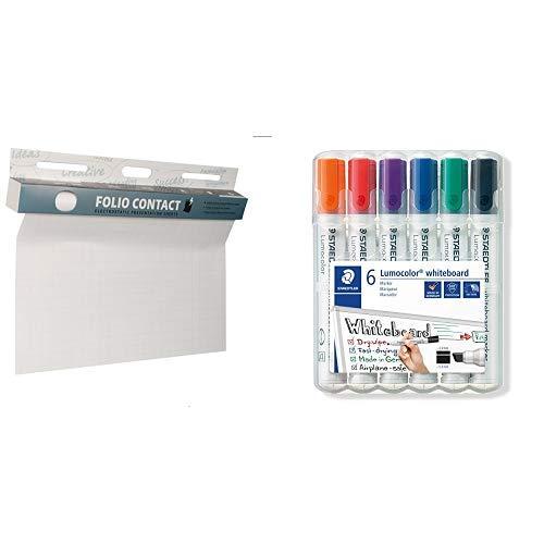 Folio Contact Flipchart: die patentierte elektrostatische Flipchartfolie & Staedtler Lumocolor 351 B WP6 Whiteboard-Marker, Keilspitze ca. 2 oder 5 mm Linienbreite, Set mit 6 Farben