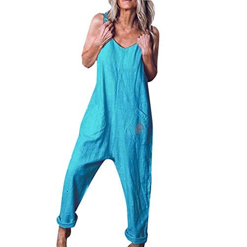 """Combinaison Femme Été Sans Manches Salopette Grande Taille,OverDose Soldes Loose Pantalon Sarouel Baggy Longue Jumpsuit Blanche Noir Taille S-5XL TAILLE:Size:36 Waist:88cm/34.65'' Shoulder:26cm/10.2"""" Length:150cm/59.06'' Size:38 Waist:92cm/36.22'' Sh..."""