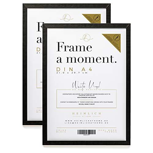 Heimlich® DIN A4 Rahmen Doppelpack (2 STK.) » SCHWARZ « Holz Bilder-Rahmen mit Plexi-Glas