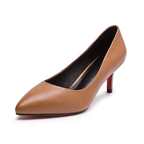 Damen Pumps Spitz Zehen Einfach mit Prägung Formell OL Klassisch Atmungsaktiv Modisch Elegant Stiletto Bräune
