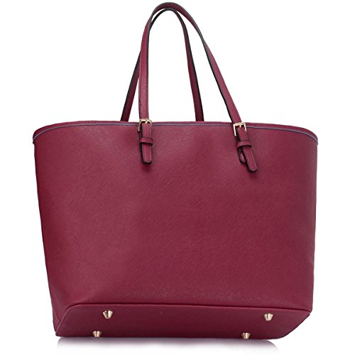 Xardi London, borsa a spalla, da donna, grande, in ecopelle, da viaggio Burgundy Plain