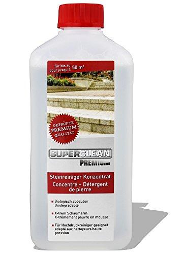SuperClean Premium Steinreiniger Konzentrat für bis zu 50m². Anwendbar an Steinplatten, Waschbeton, Grabsteinen, Terrassenfliesen etc.