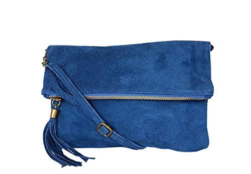 zarolo Damen Umhängetasche,Tasche klein, Schultertasche, Cross Body, Leder Clutch echtes Leder, Handtasche Italienische Handarbeit M20590 (WL - Jeansblau) -