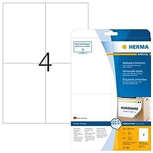 Herma 5082 Universal-Etiketten ablösbar, wieder haftend (105 x 148 mm, Format DIN A6 auf DIN A4 Papier, matt, Movables) 100 Stück auf 25 Blatt, weiß, bedruckbar