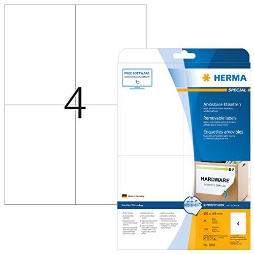 Herma 5082 Etiketten ablösbar, wieder haftend (DIN A6 Format 105 x 148 mm) weiß, 100 Aufkleber, 25 Blatt A4 Papier matt, bedruckbar, selbstklebend, Movables
