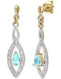 Naava - PE3459 - Pendientes de mujer de oro amarillo (9k) con 4 diamantes y topacios