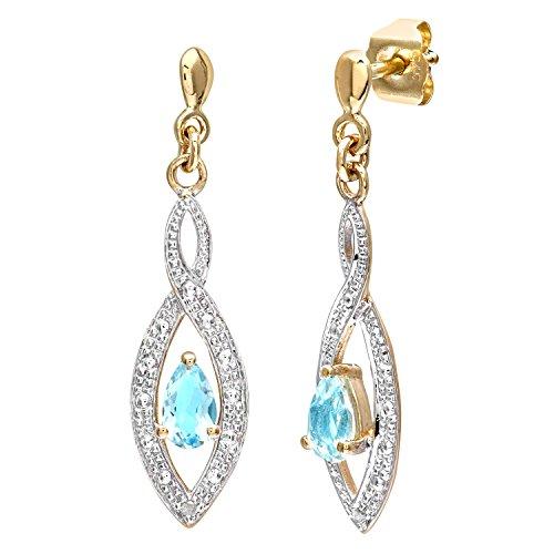 Naava Damen-Ohrhänger 375 Diamant 0,01 ct Blau PE03459Y BT