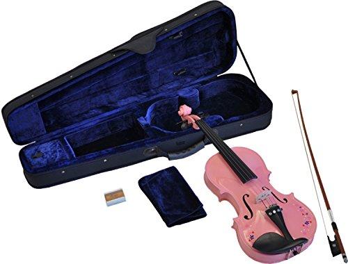 Steinbach 1/8 Geige im SET, pink mit Blumendekor, handgearbeitet