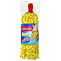 Vileda Suave - Fregona + 30% microfibras, recambio para fregona, cabezal universal, color amarillo